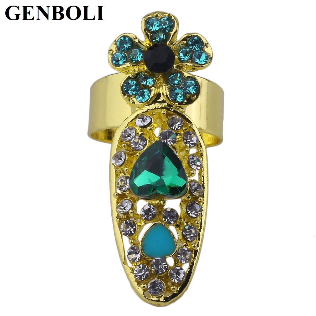 GENBOLI 12 Types Nail Ring Special Charming Design for Women Lady Female Metal Hollow Out Ring 2017 New Fashion Jewelry hot sale