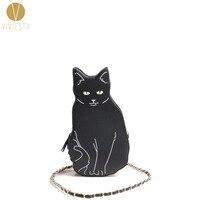 BLACK CAT MỚI LẠ TÚI CROSSBODY CHUỖI-của Phụ Nữ Girls '2018 Halloween Animal Kitten Dễ Thương Mát Niềm Vui Độc Đáo Thập Body Purse túi