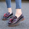 Vintage Flat women shoes large size 35-43 leather Tassel Loafers Shallow Student shoes Plush Outdoor Rubber ladies shoes