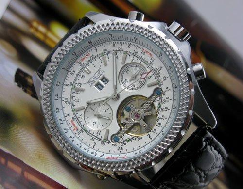 Mens AUTO Mechanical Tourbillon Leather Watches Fashion freeship