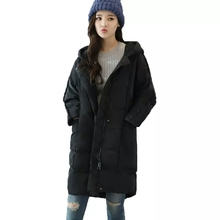 Black Women Cotton Long Parkas Winter Womens New Fashion Female Korean Style Loose Long Sleeve Students Females Hooded Thicken