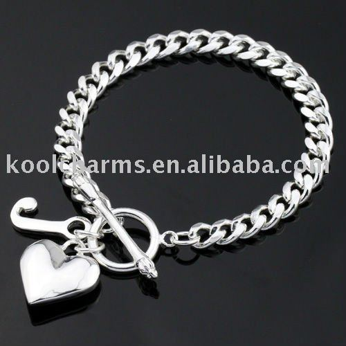 Top Quality Sliver Curb Chain Womens Las Bracelet Letter J Heart Charms Free Shipping