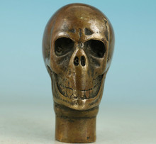 Copper Brass CHINESE crafts decoration Asian Chinese Old Bronze Handmade Carved Skull Statue Walking Stick Head