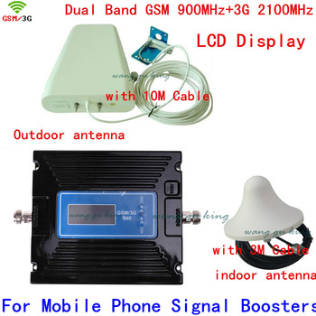 LCD Display Dual Band GSM 900 3G Signal Repeater GSM 900mhz 3G UMTS 2100mhz Cell Amplifier GSM 3G WCDMA 2100 Cellular Booster
