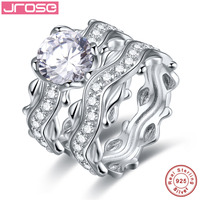 Jrose Classic Engagement Wedding A Pair Of Rings For Women Mens White CZ 100% Real 925 Sterling Silver Fashion Fine Jewelry