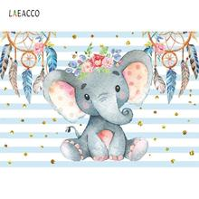 Laeacco Elephant Baby Shower Dream Catcher Flowers Watercolor Stripes Photo Backdrops Photography Backgrounds For Studio