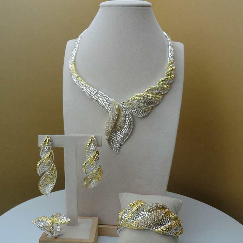 Yuminglai Dubai Gold Jewellery African Jewelry Sets for Women FHK6142