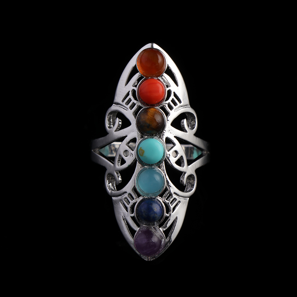 Silver Plated 7 Gemstone Bead Chakra Healing Point Flower Adjustable Finger Ring