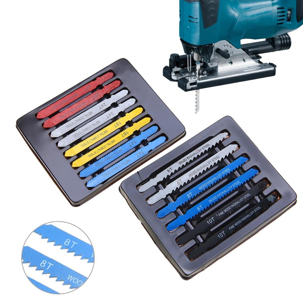 14pcs/set Metal Steel T-shank Jigsaw Blade Set Assorted Jigsaw Blade Set Fitting For Plastic Wood Cutting Power Tools