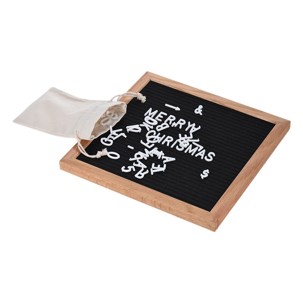 NNRTS Letter Board Sign Message Home Office Decor Board Oak Frame White Letters Symbols Numbers Characters Bag