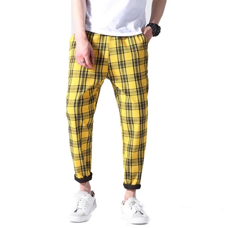2018 New Men Casual Cotton Track Pants Black Khaki Plaid Stripe Vintage Jogger Pants Drawstring Waist Harajuku Trousers 5xl ...