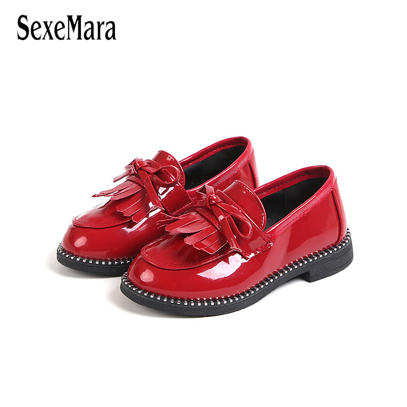 2018 Spring Autumn Children Shoes for Girls Leather Shoes Fashion Solid Color Tassel Bow ...