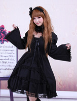 Cotton Black Lolita OP Dress Long Sleeves Lace Trim