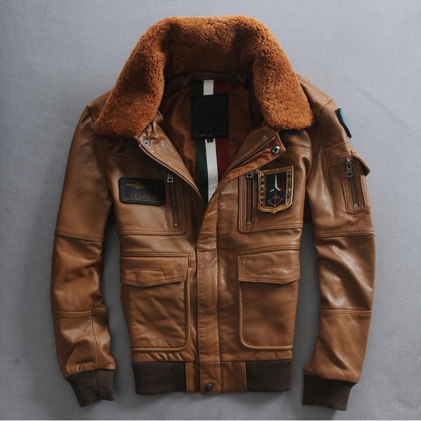 Italy air force pilot jacket fur collar leather flight jacket men ...