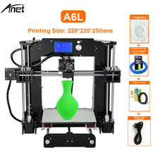 Anet A6L 3D Printer With Self Leveling High Precision Offline Printing Desk 3D DIY Kit Printer 200*200*240mm USB SD Card Connect cheap PLA ABS HIPS etc 0 4mm Cura 110 220v 250W 300mm s 1 75mm 0 1-0 15mm 0 1-0 4mm english 110-220V 120mm s 40-120mm s 220*220*240mm