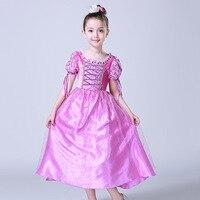 3 10 T children girl dreses High quality crystal embellished neck princess costume girls rapunzel party dress sofia perform kids