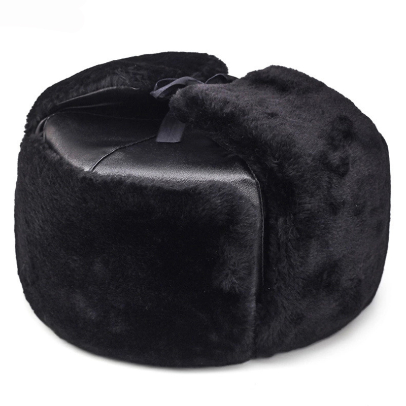 HT1891 Warm Thick Russian Hat Men Army Military Cap Winter Ushanka Bomber Hat Solid Leather Earflap Trapper Ski Fur Hats For Men