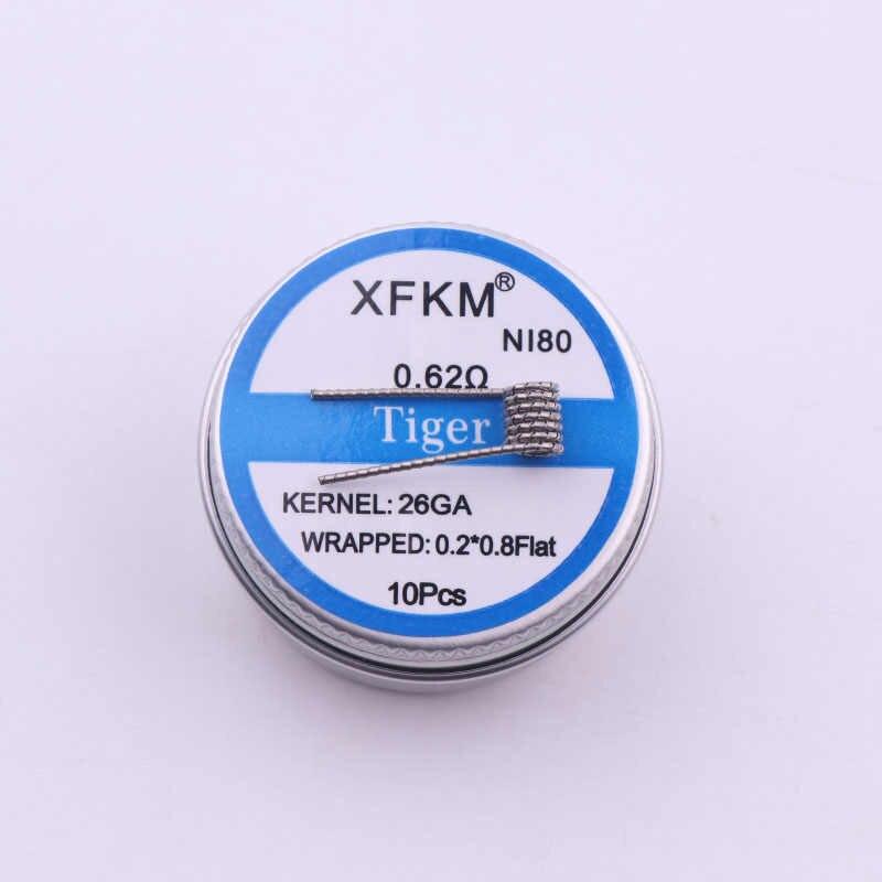 Xfkm NI80 Alien Clapton катушки плоские витой Сплавленный Clapton Quad Тигр Отопление провода Vape сопротивление предварительно подготовленный Койл предварительно собранный Койл