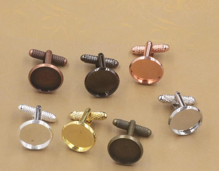 Cufflinks-Base Cabochon French Wholesale Silver/gold Round 18mm 16mm 50pcs Threaded-Rod
