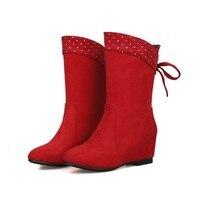 2017 Продвижение Средний (b, m) Botas Mujer Женщин Сапоги Новая Мода Обувь Увеличение Нубука Mi dcalf Удобные Повседневные Hq102
