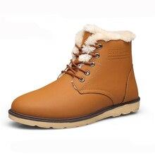 hot deal buy men boots 2018 warm winter shoes lace-up men ankle boots non-slip men snow boots sewing men martin boots botas de hombre