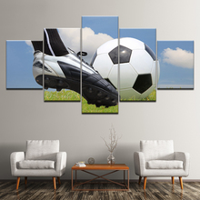 Canvas Painting play football under blue sky 5 Pieces Wall Art Painting Modular sport Wallpapers Poster Print  Home Decor wppwdxen photography flowers under the blue sky print art