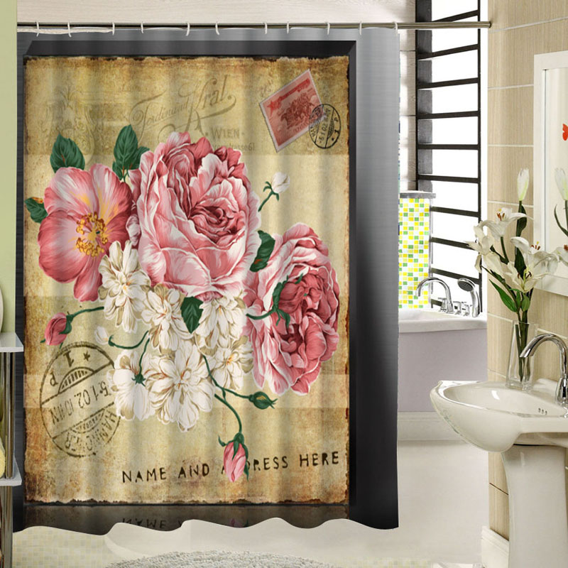 Classical Flower Design Bath Curtain For Bathroom Waterproof Fabric Print Art Vintage Shower