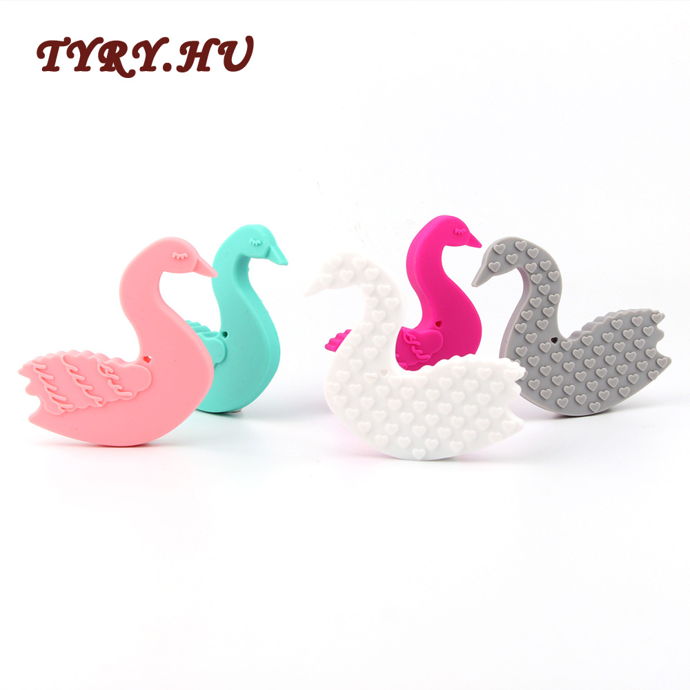 TYRY.HU Swan Teether Silicone For Baby Toys Food Grade Silicone Teether Beads Baby Nursing Baby Teethers Chew Pendants Gifts 1pc