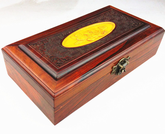 Rosewood carved jewelry box Zhi tenon boxwood inlay red wood crafts