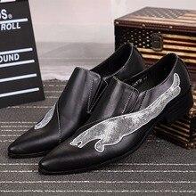 Neue Glitter Muster-echtes Leder Fashion Hochzeit Mens Dress Schuhe Spitzschuh Loafers Männer Wohnungen Große Größe