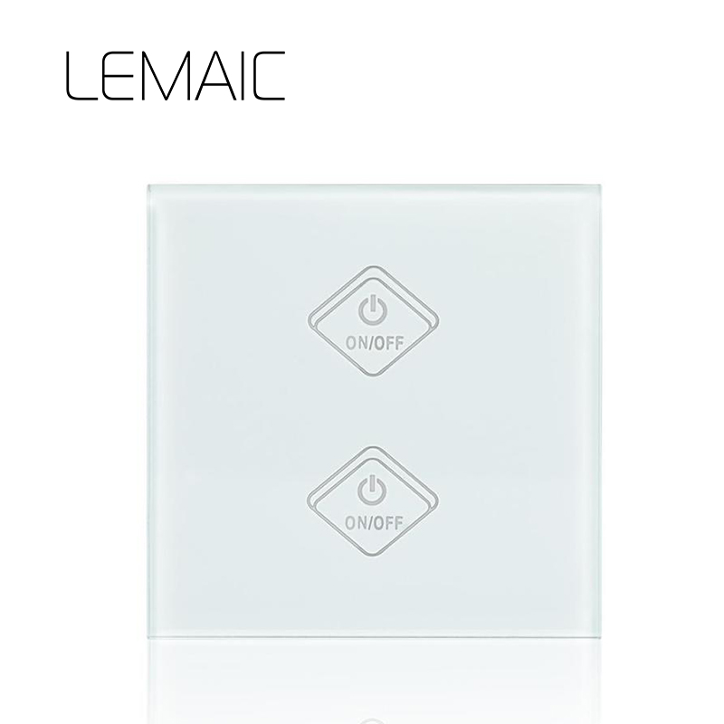 LEMAIC WiFi Smart Switch 2 Gang Light Wall Switch APP Remote Control Work with Amazon Google Alexa Timing Function Touch Screen sonoff t1 us smart touch wall switch 1 2 3 gang wifi 315 rf app remote smart home works with amazon free ios and app ewelink