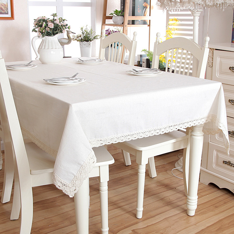 Minimalist Table Cover Lace Edges Natural Linen Tablecloth Rectangle Country Style Hot Sale
