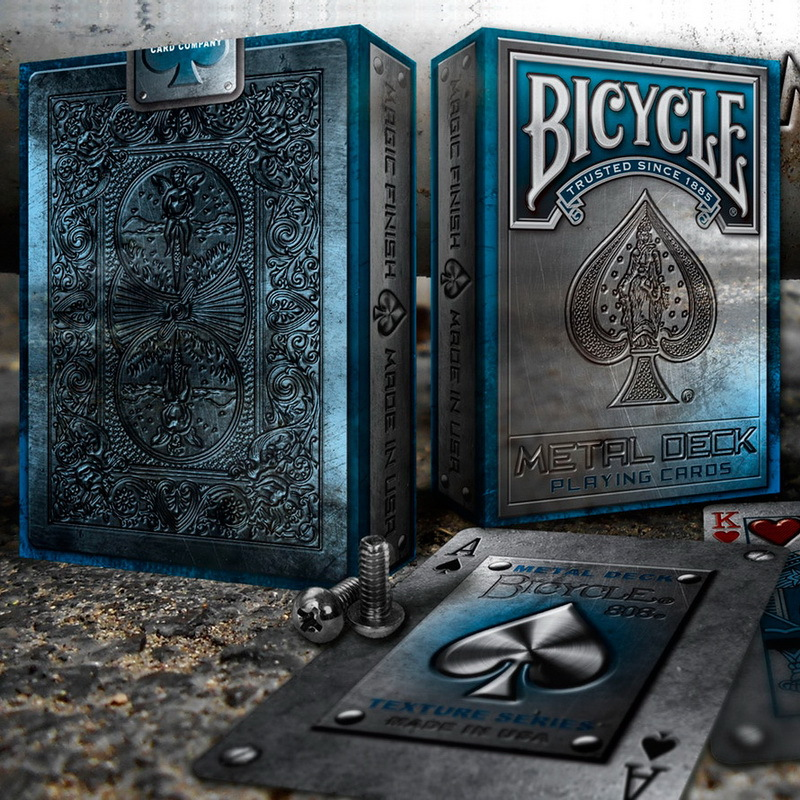 Bicycle Metal Blue Rider Back Playing Cards Poker Size USPCC Limited Texture Edition Deck Magic Cards Magic Tricks Props Magia tally ho playing cards magic deck magic tricks cardistry deck