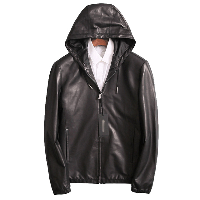 6db32354f4a Fashion Hooded Leather Jacket Short Men Real Genuine Leather Coat Men Young Mens  Hooded Leather Coat Winter jaqueta motoqueiro