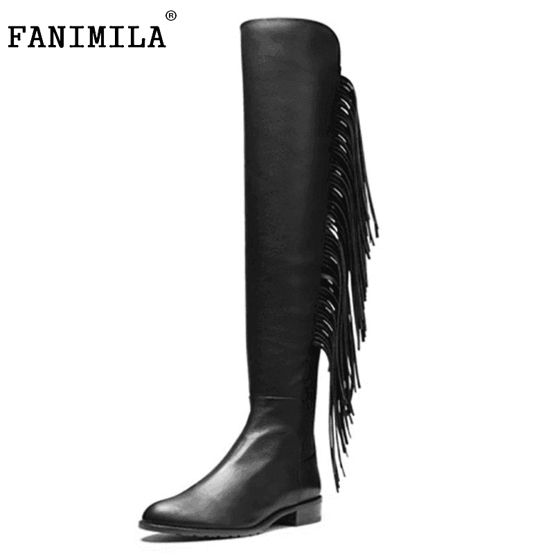 Size 33-46 Women Winter Boots Over Knee High Tassel Sexy Square Heels Real Genuine Leather Boot Shoes Woman Botas only true love genuine leather shoes woman winter long boots square heels sexy women over the knee high boots