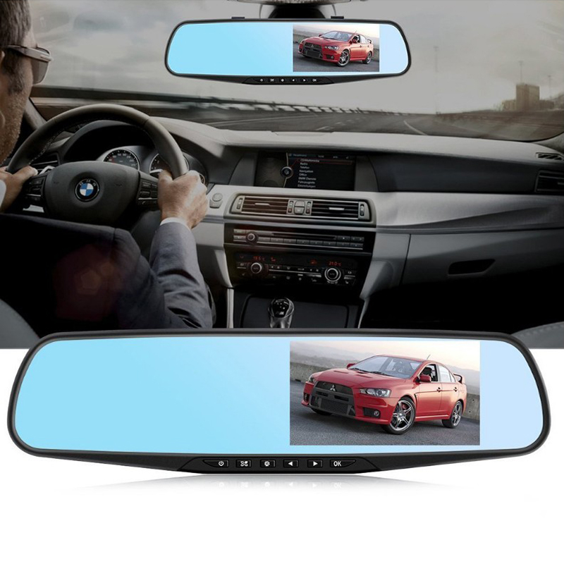 Driving-Recorder Parking-Monitoring Car-Rearview-Mirror Dash-Cam Dual-Lens 1080p Reversing-Image
