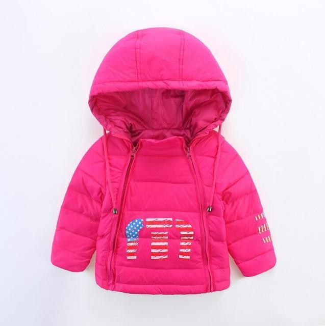 Осень и зима новый детский пуховик детей с капюшоном двойной молнии пуховик мальчиков и девочек ребенка вниз куртка