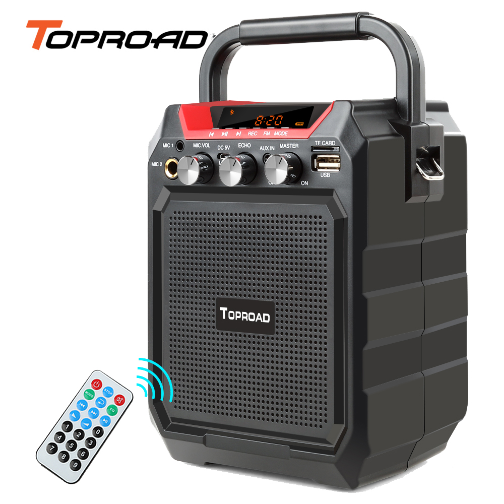 TOPROAD Portable Bluetooth Speaker Wireless 3D Stereo Louderspeakers Suppor FM radio Remote control Line in USB