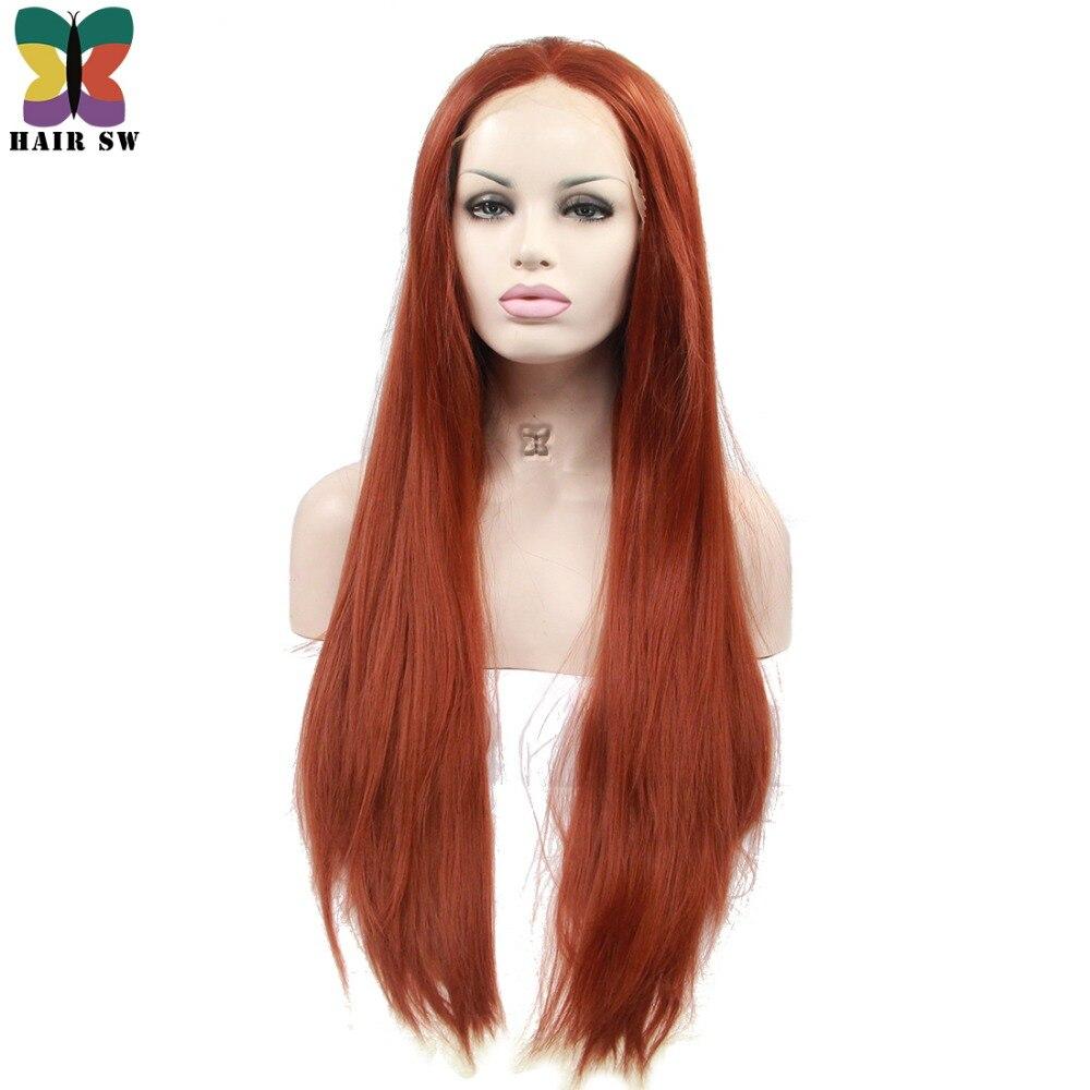Волос SW Длинные прямые Синтетический Синтетические волосы на кружеве парик красновато-коричневый имбирь Цвет термостойкие Волокно для Кос...