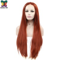HAIR SW Long Straight Synthetic Lace Front Wig Reddish Brown Ginger Color Heat Resistant Fiber For