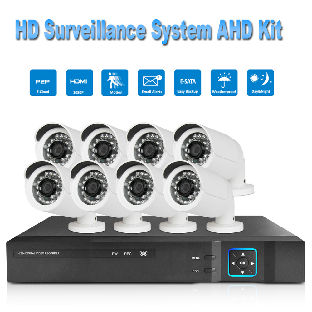 PUAroom 8CH night vision IR Cut security camera RoHS FCC CE approved H.264 onvif video recording cheap Security Camera Systems
