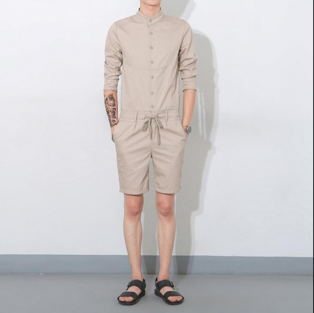 2019 Summer men jumpsuit casual three quarter sleeve fashion overalls one  piece clothing set bib pants Coverall singer costumes 53bb41be88e