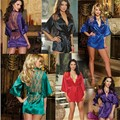 CDJLFH Hot Women Sexy Erotic Lingerie Satin Lace Black Kimono Intimate Sleepwear Robe Bathrobe Sexy Night Gown Sex Flirt Sets