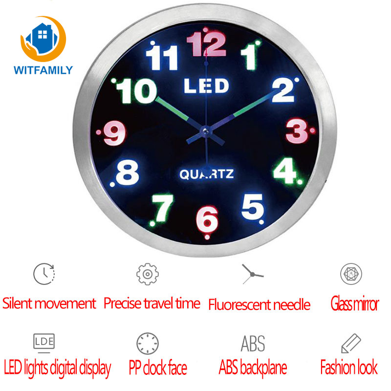12 Inch Simple Digital Metal wall clock LED Lights Fluorescent Luminous clock Living Room Home Decoration Wall watch12 Inch Simple Digital Metal wall clock LED Lights Fluorescent Luminous clock Living Room Home Decoration Wall watch