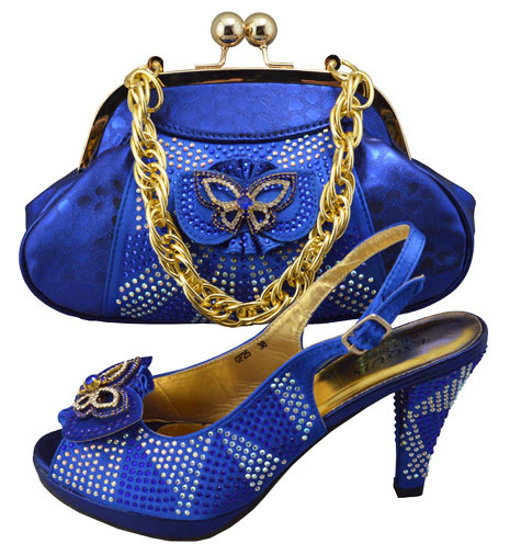 ФОТО 2017 Latest African Shoe With Bags Set For Wedding High Quality Fashion Italian Shoe With Matching Bag For Party Blue GF25