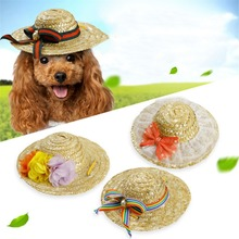 New Sun Hat For Dogs Cute Pet Casual Solid Hand Weaving Cap Chihuahua Yorkshire Products Plus Size S/M/L
