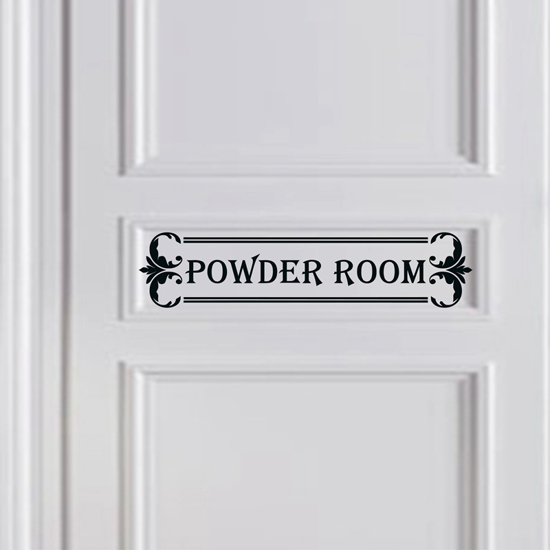 Powder room door decal girls powder room decor dressing for Powder room door size