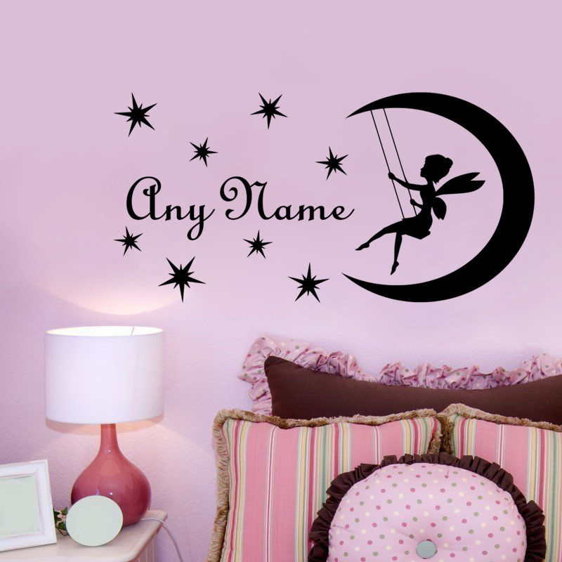 wall decal diy fairy on moon custom name vinyl wall sticker personalized name decal for kids. Black Bedroom Furniture Sets. Home Design Ideas
