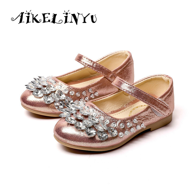 AIKELINYU Autumn Children shoes Girls Princess Crystal Shoes Diamonds Girls Bright Shoes kid Party Wedding Shoes Girls Baby Pin