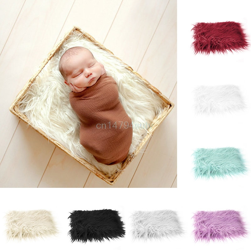 Newborn Faux Fur Wrap Baby Photography Props Blanket Filler Stuffer Rug Soft Mat #H055#